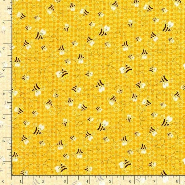 1 Yard Cut -Bee Loved Honeybees on Honey Yellow Fabric - by Timeless Treasures