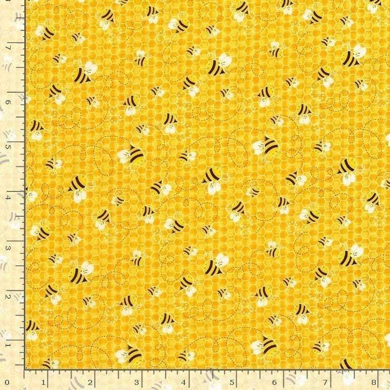 1 Yard Cut -Bee Loved Honeybees on Honey Yellow Fabric - by Timeless Treasures