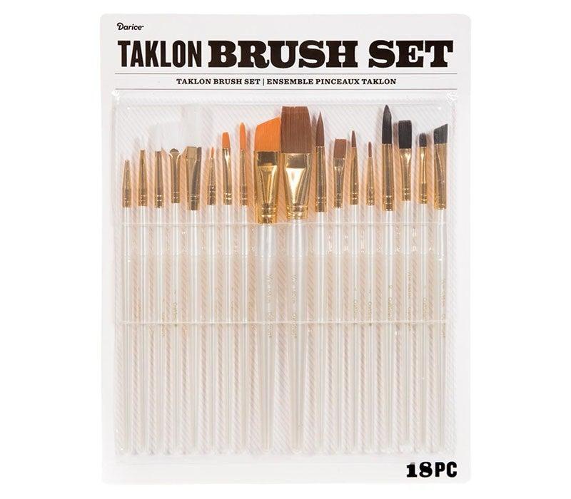 Taklon Paint Brush Set: 18 pieces