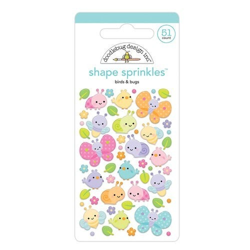 Birds & Bugs shape sprinkle embellishments, Fairy Garden by Doodlebug