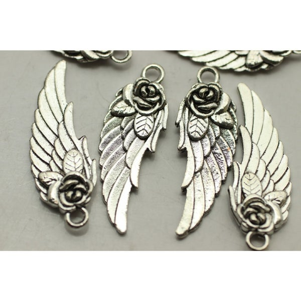 Charm- Angel Wing with Rose