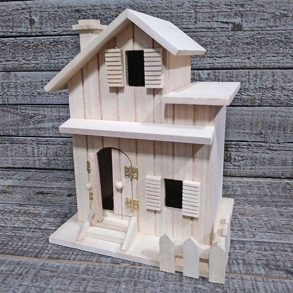 Unfinished Wood Birdhouse Two Story House