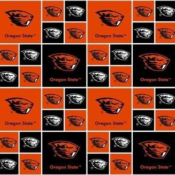 1 Yard College Cut Fabric, Oregon State University Patch Orange and Black