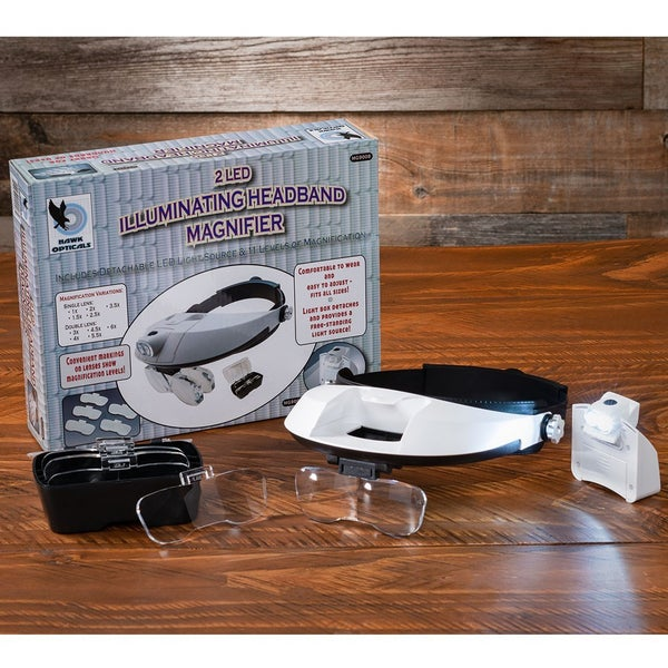 HAWK OPTICALS 2 LED Head Magnifier with Extra Lenses, White
