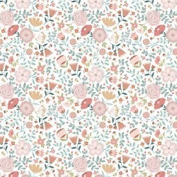 1 Yard Cut - Goose Creek Wildflowers in White - Poppie Cotton