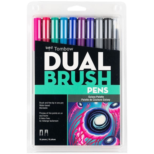 Tombow Dual Brush Pen Art Markers, Galaxy, 10-Pack