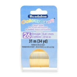 Craft Wire- 26GA Silver Plated Gold 10yd Spool
