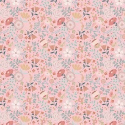 1 Yard Cut - Goose Creek Wildflowers in Pink - Poppie Cotton