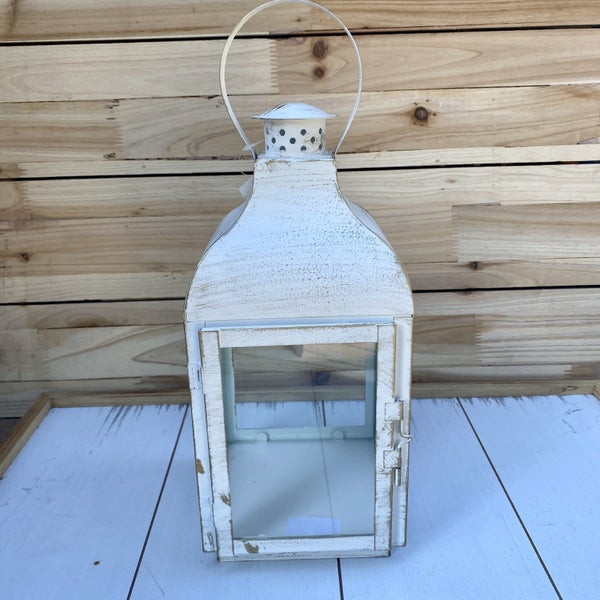 White Metal Lantern with Round Handle