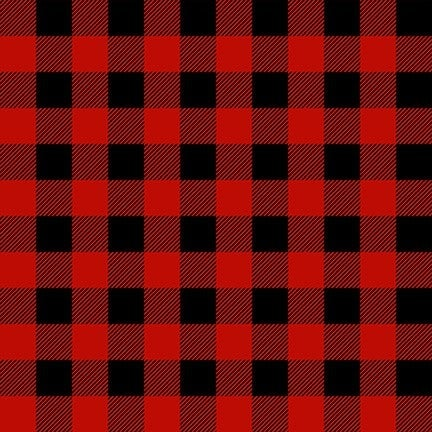 1 Yard Timber Gnomies Cotton Cut Fabric, Red and Black Buffalo Check