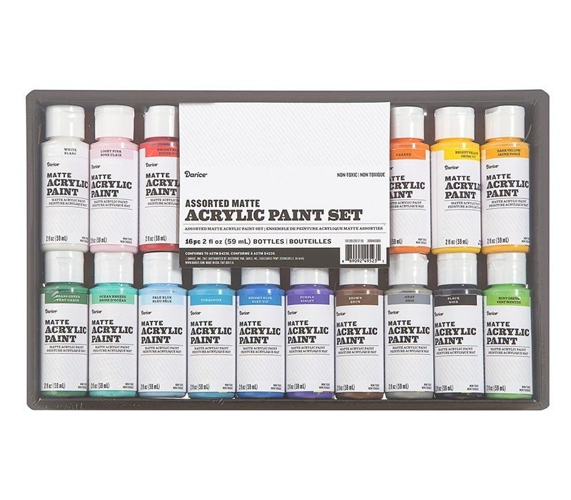 Acrylic Paint Set: Matte, 2 ounces, 16 pack
