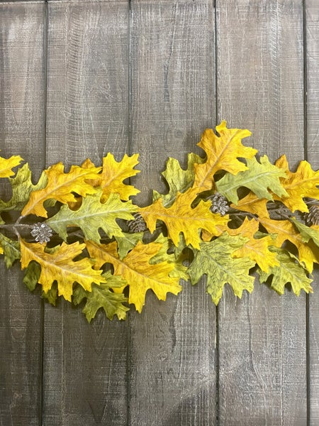 69 inch Oak Leaf Garland with Pinecones