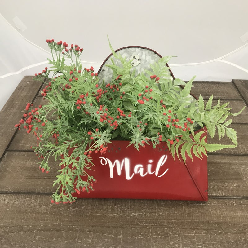 """Red Metal Mail Box Wall Hanger Bundle Package with 18"""" Dusty Fern Bush and Wild Asparagus Bush"""