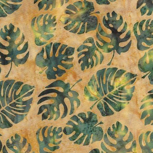 1 Yard Cut - Coco Cabana Batik Philodendron, Smore