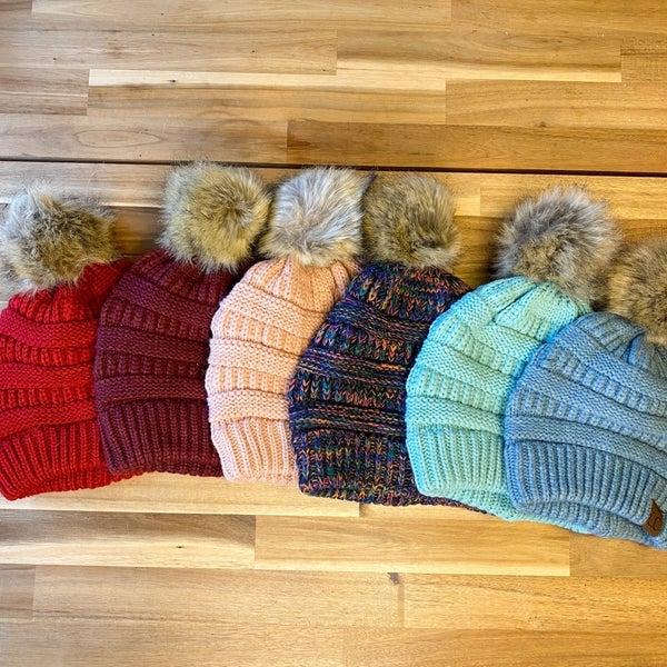 Faux Fur Pom-Pom C.C. Beanies (6 colors Available)