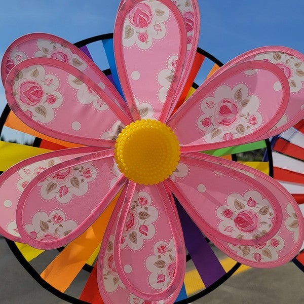 Patch Layered Flowers Wind Spinner Pink