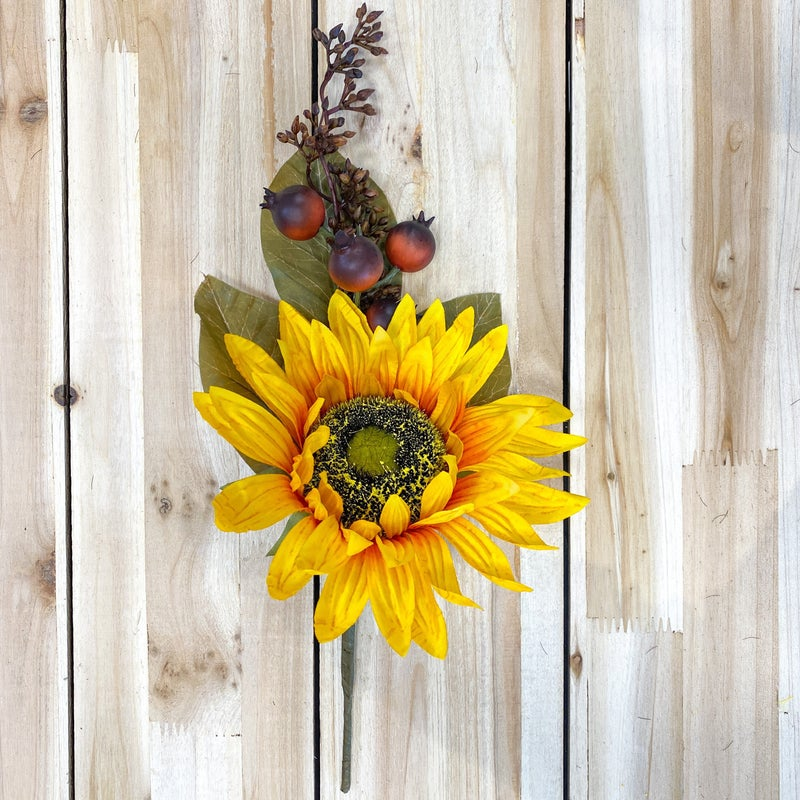 16 inch Fall Pick-  Sunflower with Berries