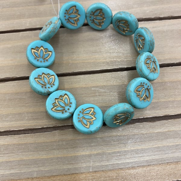 18mm Coin with Lotus Flower- Aqua with Bronze Wash