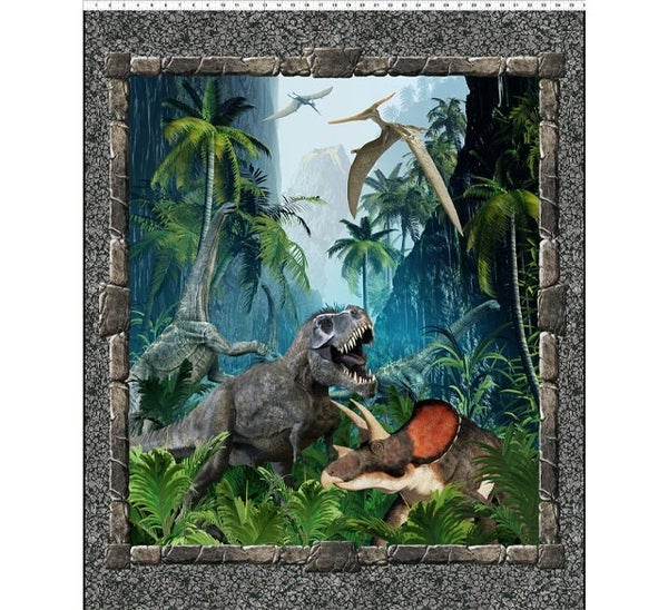 "PRE SELL Jurassic Large Dinosaur Fabric Panel full color 36"" x 44"""