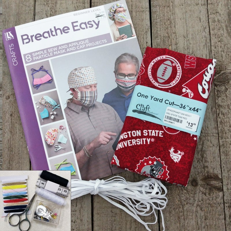 Mask Bundle Kit, Washington State Toss and Text on Red