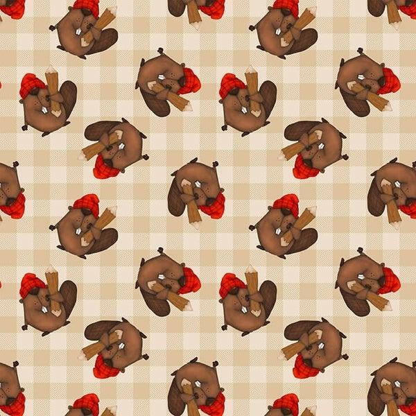 1 Yard Timber Gnomies Cotton Cut Fabric, Beavers Toss