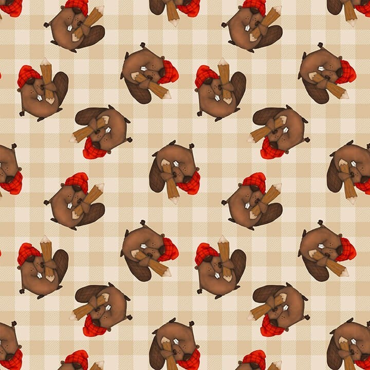 1 Yard Timber Gnomies Cotton Cut Fabric, Beavers Toss