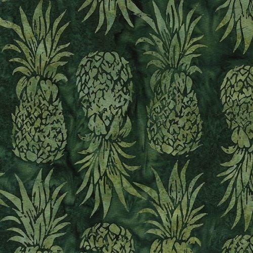 1 Yard Cut - Coco Cabana Batik Pineapple Fabric, Pine Needle