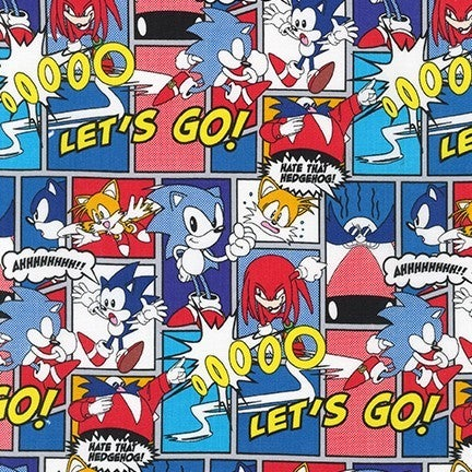 1 Yard Cut - Sonic the Hedgehog Comics on Grey Licensed Novelty Fabric