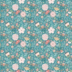 1 Yard Cut - Goose Creek Wildflowers in Teal - Poppie Cotton