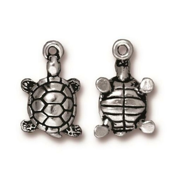 Tierra Cast- Turtle Charm 18.75mm, Antiqued Silver