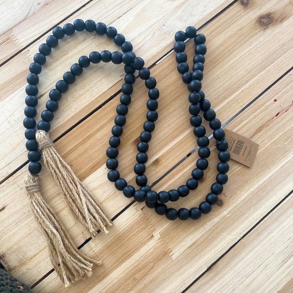 72 inch Black Wood Bead Garland with Jute Tassels