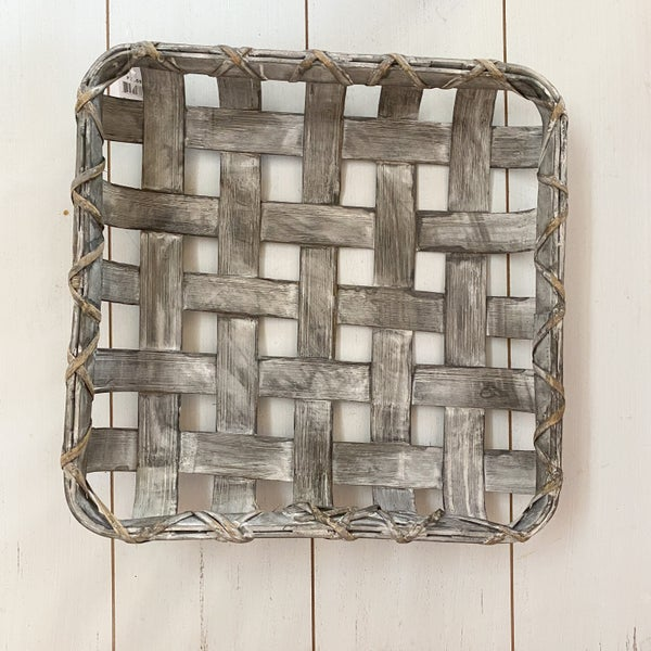12 inch Grey Wicker Tray