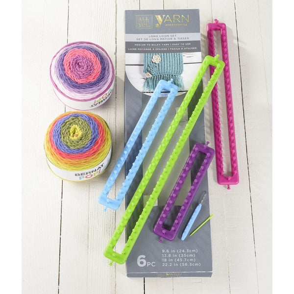 Knitting Loom Set of 4 Long Rectangular Looms with Loom Tool