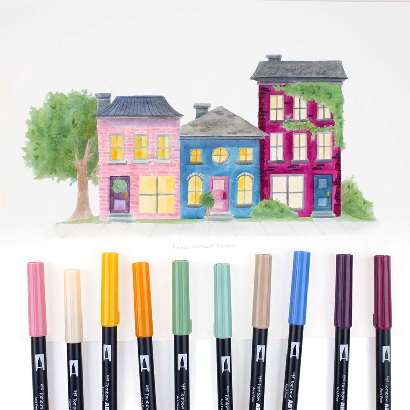 Tombow Dual Brush Pen Art Markers, Cottage, 10-Pack