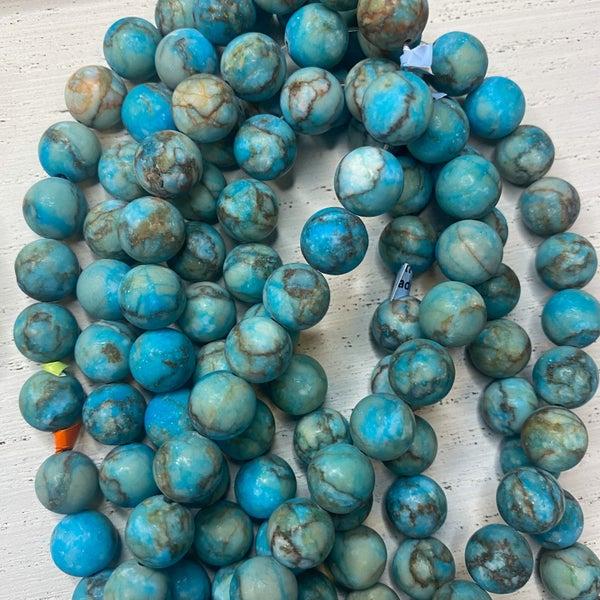 16 in. Gemstone Strand- Matte 10mm Jasper dyed Turquoise