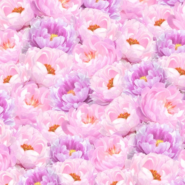 1 yard Cut - Flower Study Peonies Pink and Purple - Wilmington Fabrics