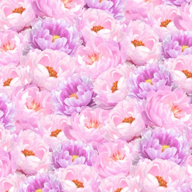 1 yard Cut - Flower Study Peonies Pink and Purple - Wilmington Fabrics