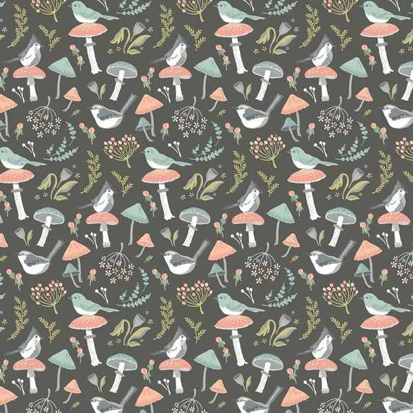 1 Yard Cut - Woodland Songbirds  and Mushrooms Toss on Dark Gray