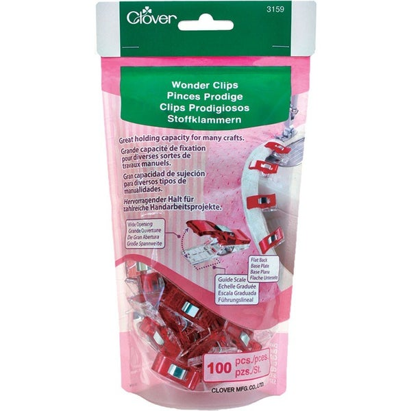 Clover Wonder Clips 100 Count Value Pack - Red