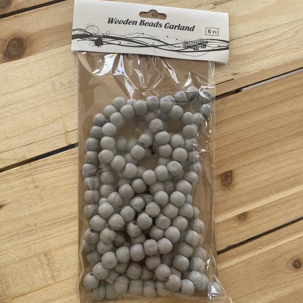 6 FT Grey Wooden Bead Garlands