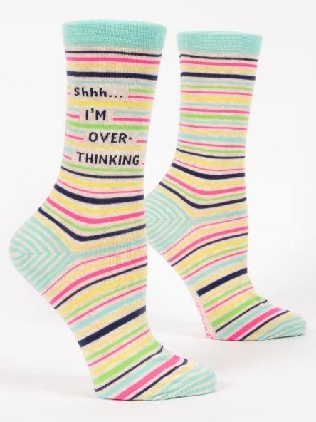 SHHH I'm Overthinking Women's Crew Sock, Blue Q