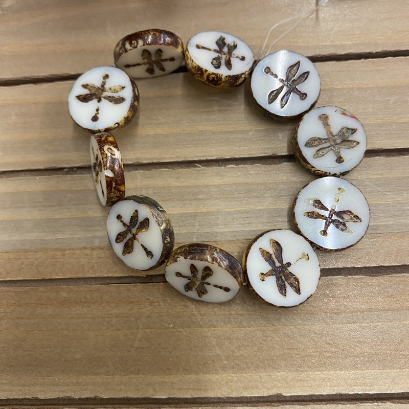 18mm Table Cut Coin with Dragonfly- Ivory Opaque