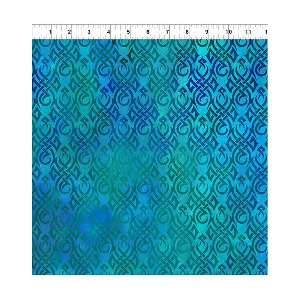 1 Yard Cut - Blue Dragon Celtic Knots Allover Fabric
