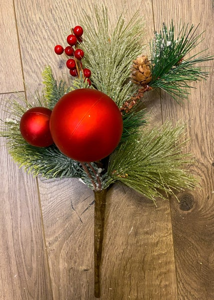 12inch Frosted Pine Pick w/Berries and Ornaments