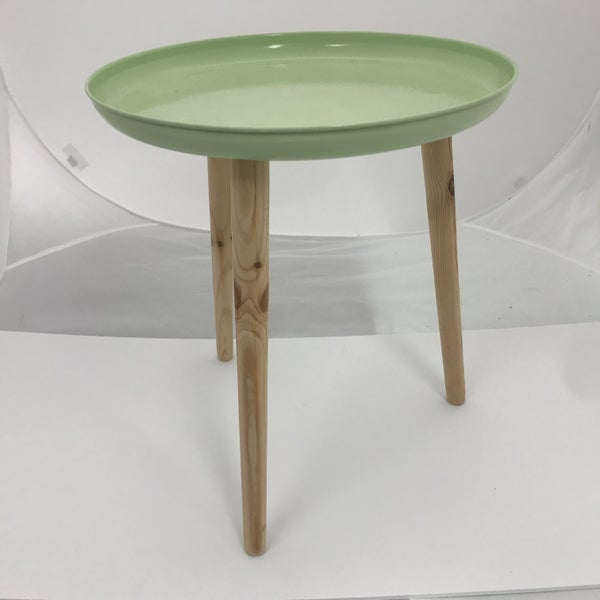 "Colorful Metal Tray With Dowel Legs, Green, 18"" Tall"