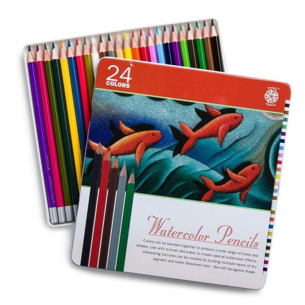 Pentalic Watercolor Pencil Tin, 24 Pencils