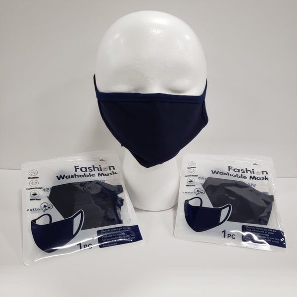 3 Pack Navy Fashion Protective Face Covers, Unisex, Washable