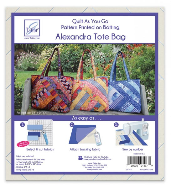 June Tailor Quilt as you Go Alexandra Tote Bag - 3 Patterns