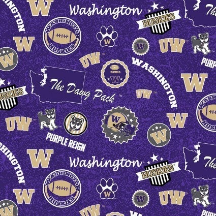 1 Yard College Cut Fabric, University of Washington Logo Toss on Purple