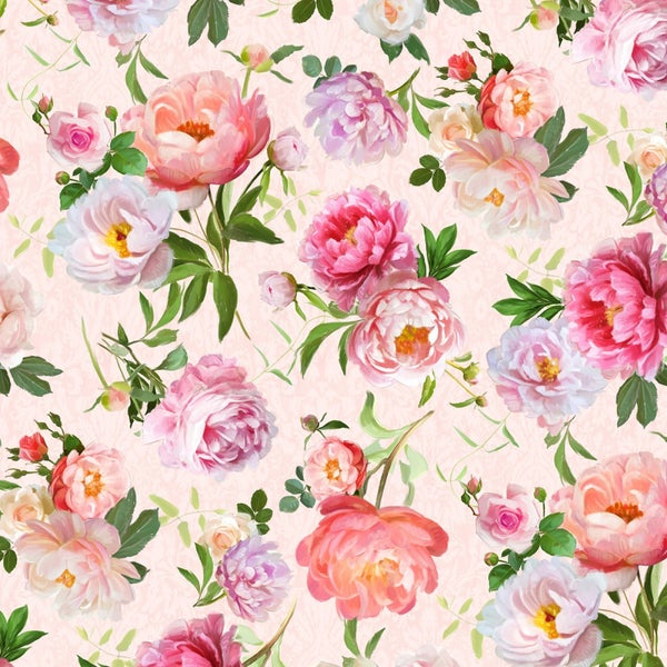 1 yard Cut - Flower Study Floral Toss Peach - Wilmington Fabrics